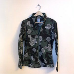 Green floral helly hansen fleece sweater
